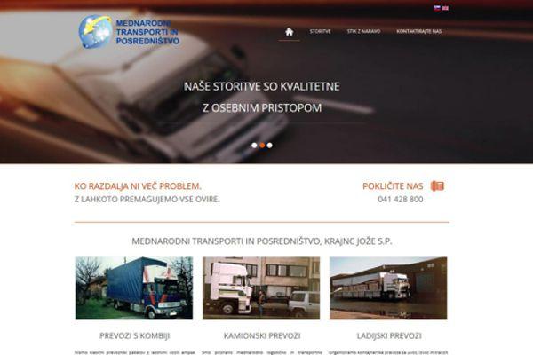 Spletna stran Mednarodni transporti in logistika, Krajnc Jožef s.p.