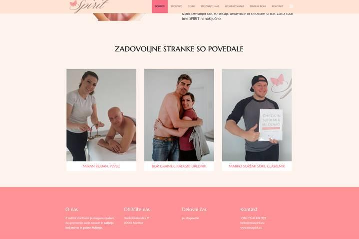 Spletna in Facebook stran SPIRIT, Nina Krajnc, s.p.
