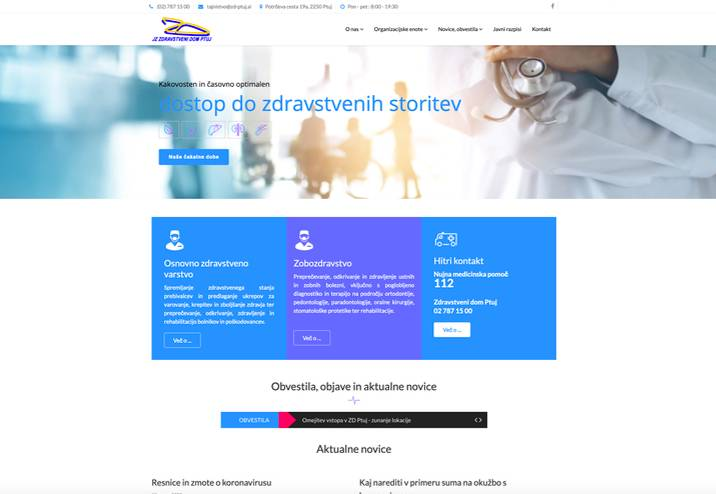 Spletna stran Zdravstvenega doma Ptuj